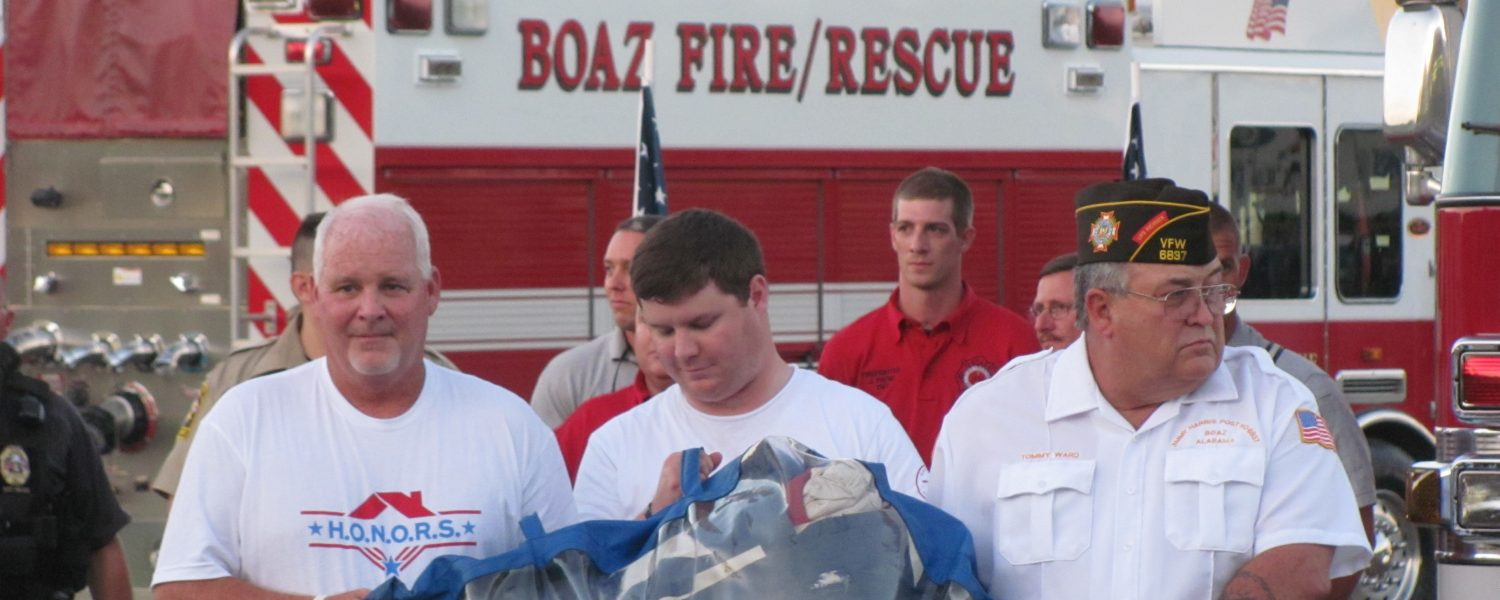 Home for Garmons, National 9/11 Flag celebrated in Boaz